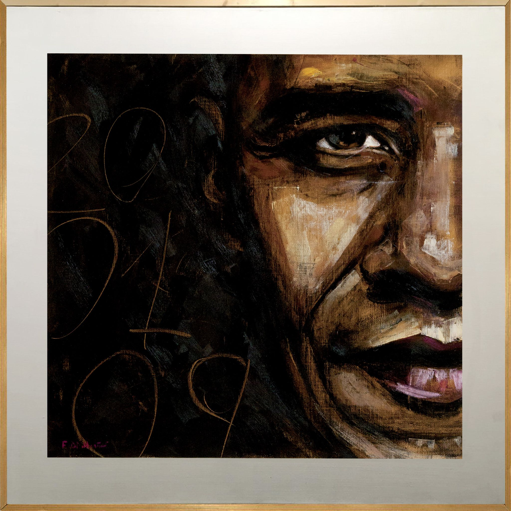"MIXED MEDIA FRANCESCA DI MARTINO "" OBAMA ""  dimensioni L 100 x H 100 cm."