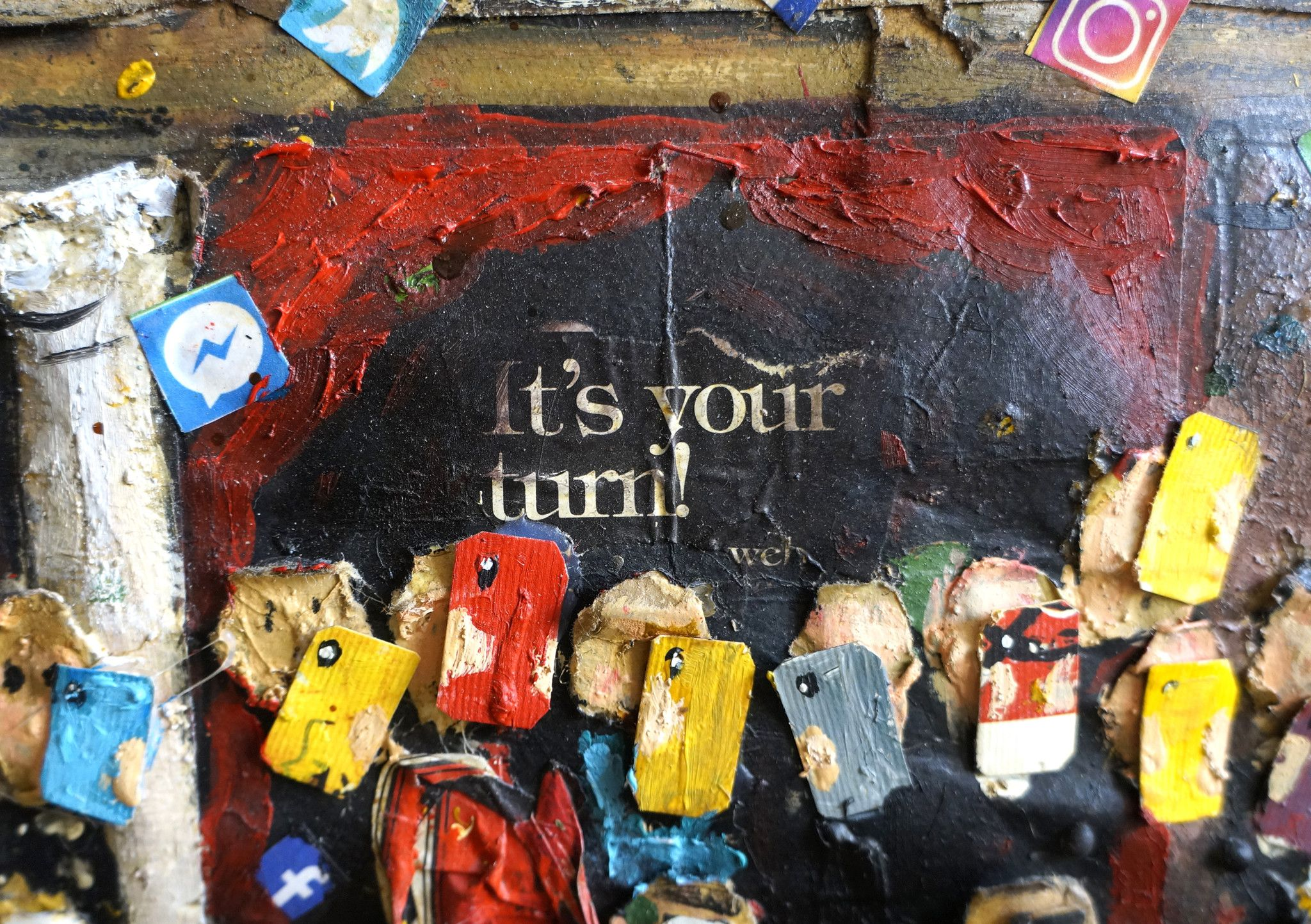 "MIXED MEDIA PAOLO FRANZOSO "" IT'S YOUR TURN ""  dimensioni L 160 x H 120 cm."