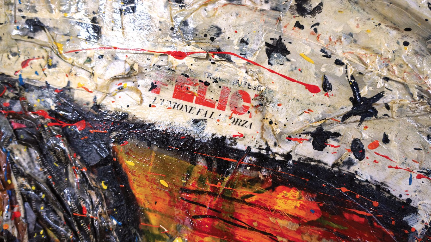 "MIXED MEDIA PAOLO FRANZOSO "" ECLISSE ""  dimensioni  L 180 x H 180 cm."
