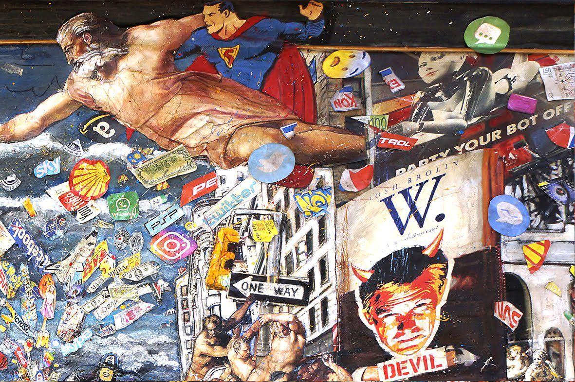 """MIXED MEDIA PAOLO FRANZOSO """" RESET """"  dimensioni L 270 x H 130 cm."""