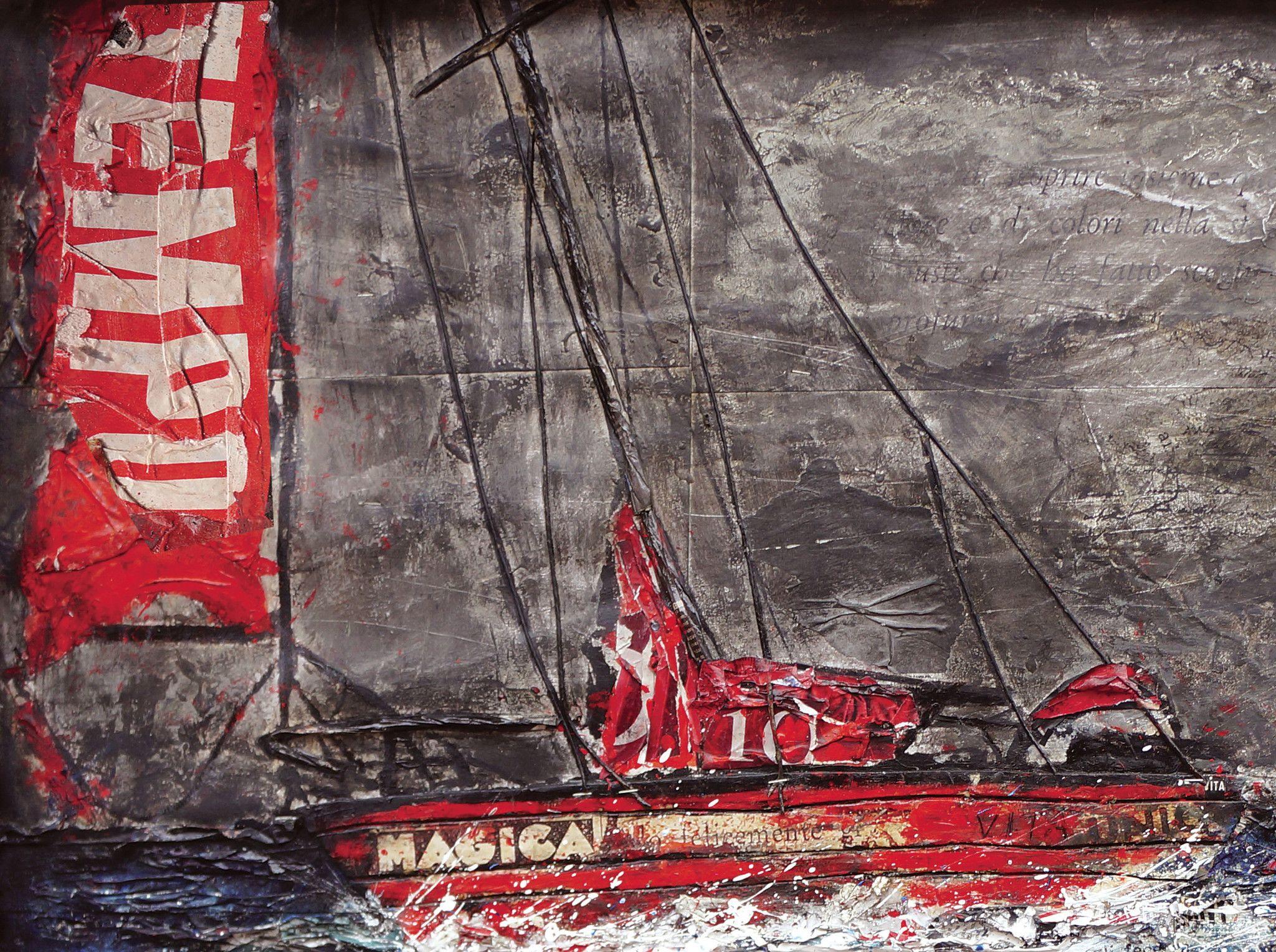 """MIXED MEDIA PAOLO FRANZOSO """" V.I.T.A. (UNA STORIA D'AMORE)  dimensioni L 139 x H 87 cm."""