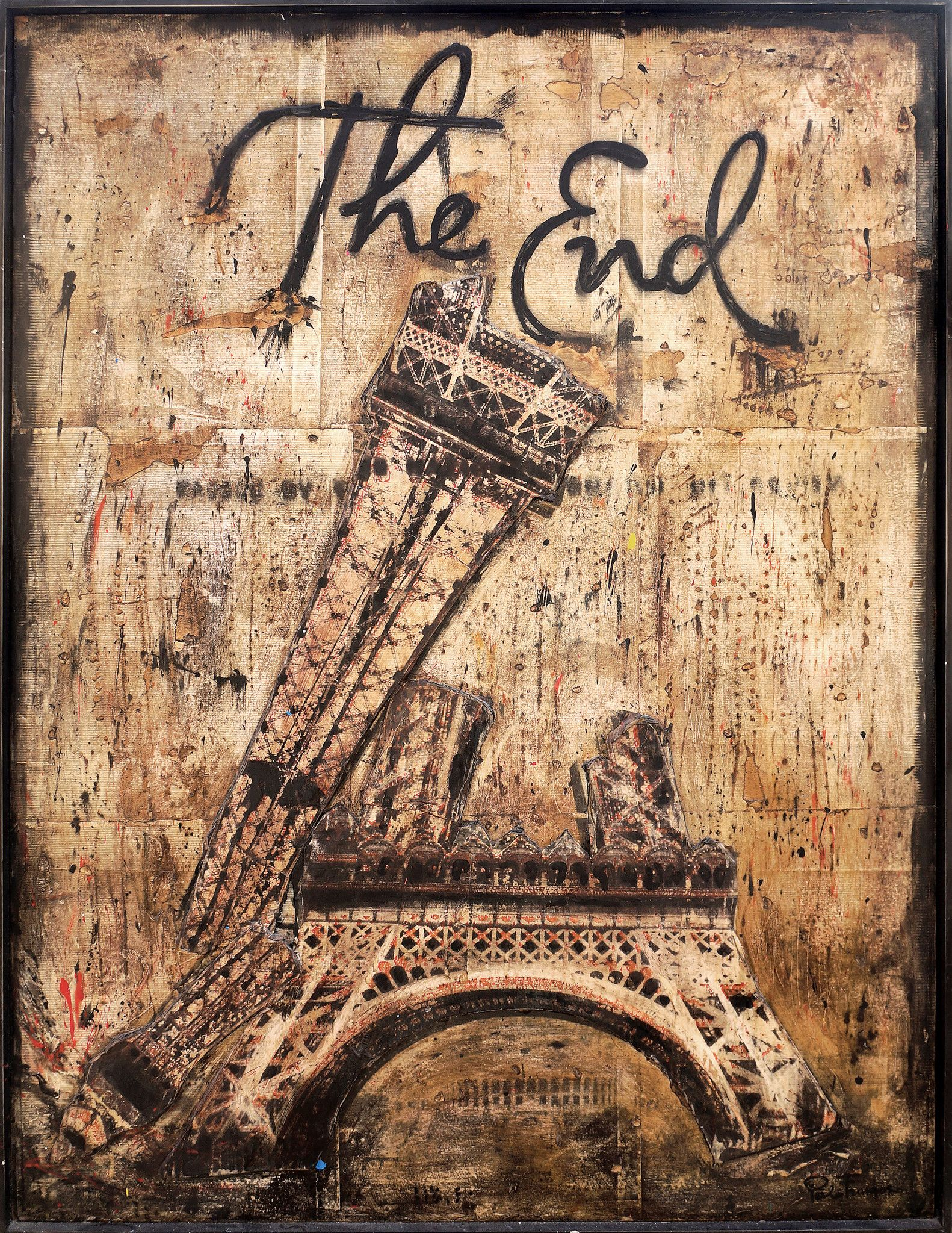 "MIXED MEDIA PAOLO FRANZOSO "" THE END ""  dimensioni L 93 x H 123 cm."