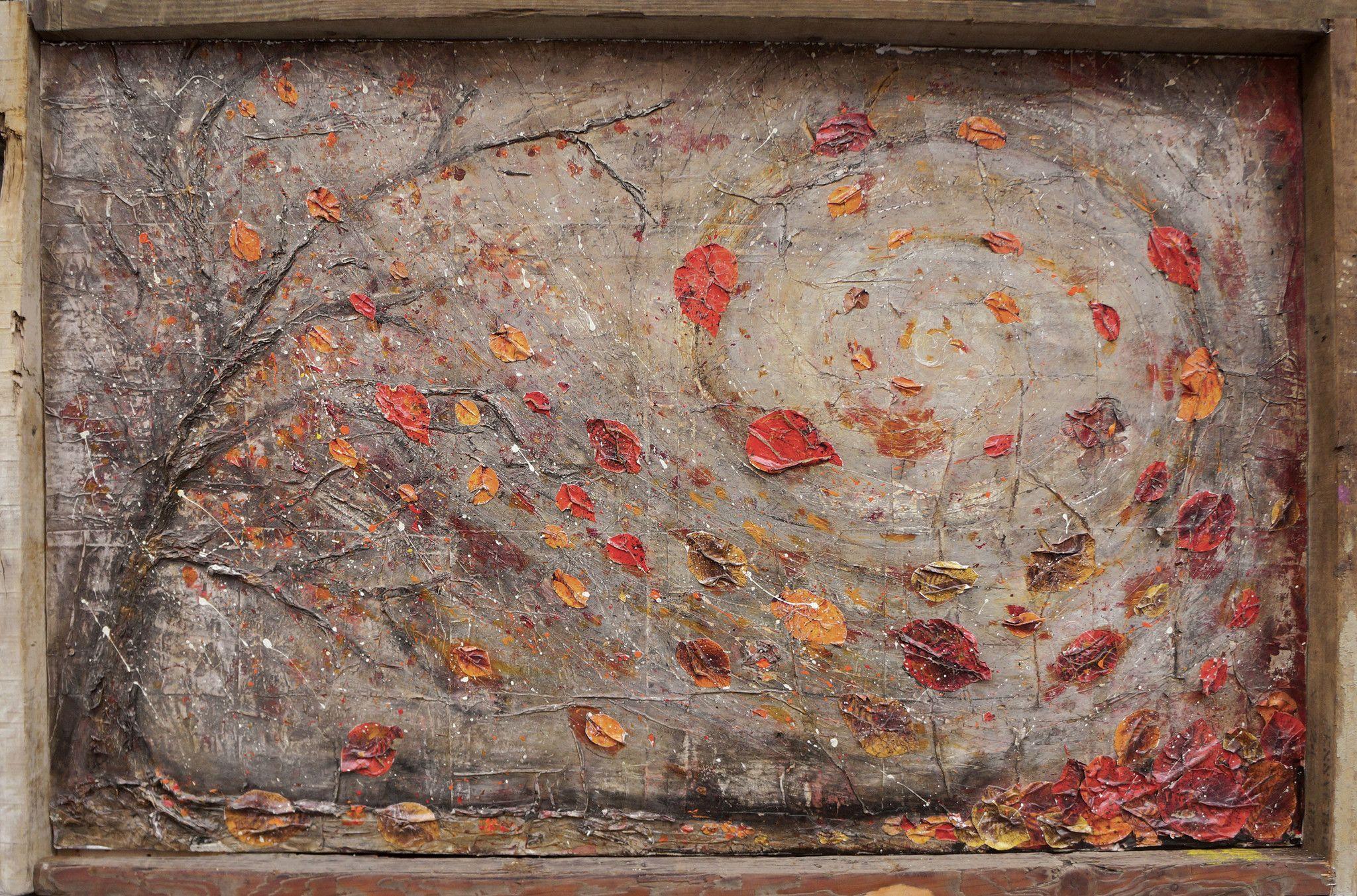 MIXED MEDIA PAOLO FRANZOSO ' COLORI D'AUTUNNO ' dimensioni L 182 x H 119 cm.