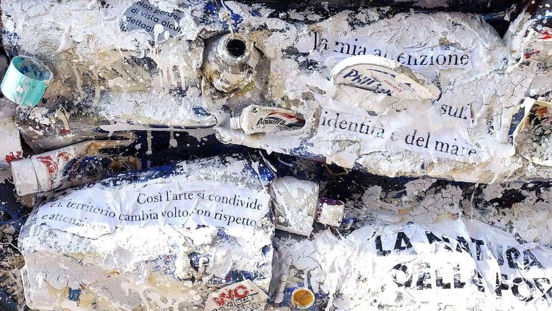 """MIXED MEDIA PAOLO FRANZOSO """" INQUINA.MENTI """"  dimensioni L 200 x H 127 cm."""