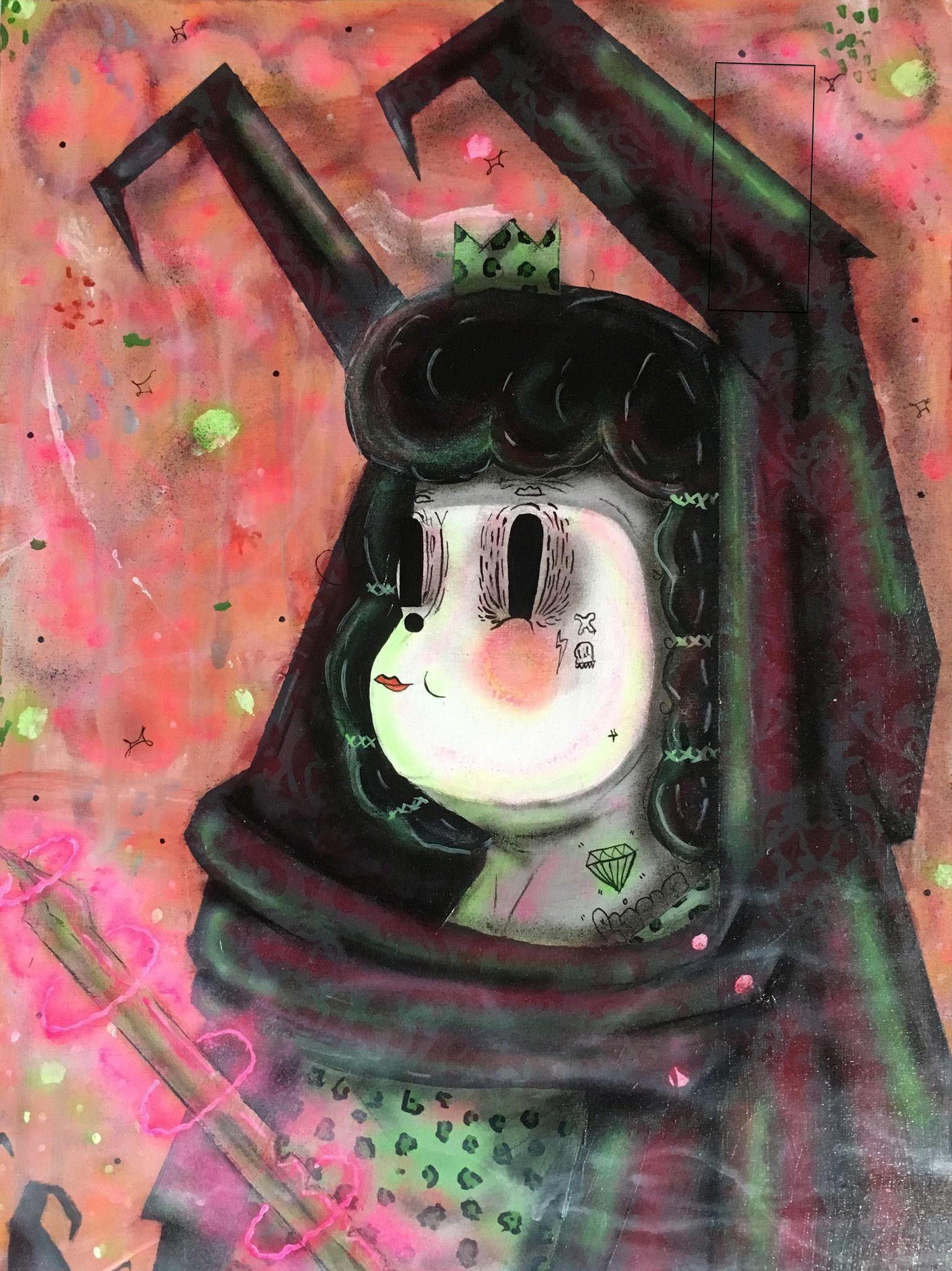 """ACRILICO SU LEGNO RAMIRO DAVARO COMAS """" THE GREEN LEOPARD QUEEN """" dimensioni L 77,4 x H 103 cm."""