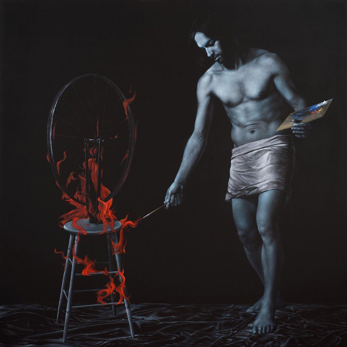 """OLIO SU TELA FRANCESCO VERDI """" IL FUOCO DELL'ARTE """" dimensioni L 180 x H 180 cm."""