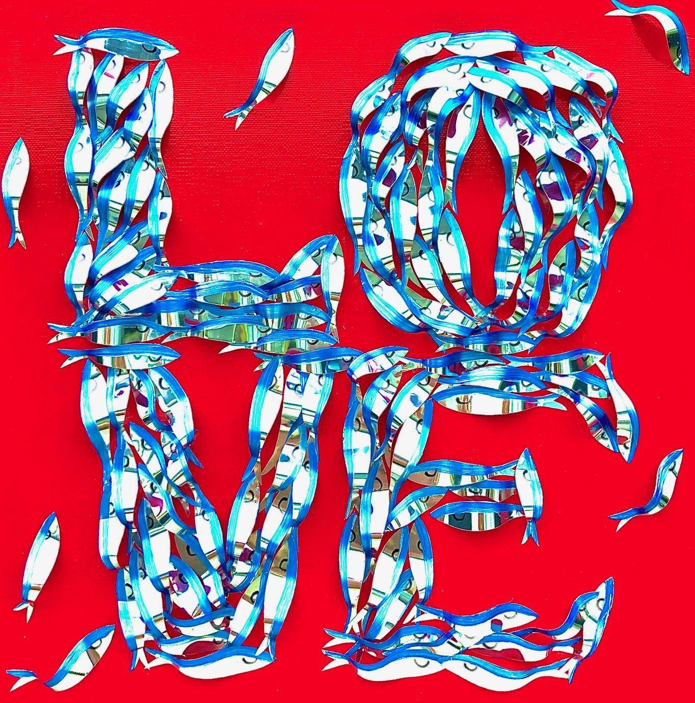 "BARBARA PECORARI "" SARDINES LEAPING OUT POP LOVE - MINI ""  dimensioni L 30 x H 30 cm."