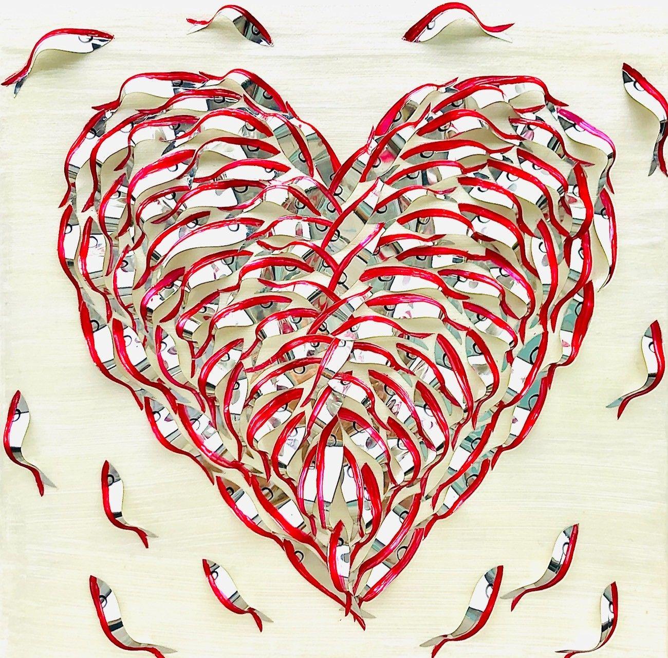 "BARBARA PECORARI "" SARDINES LEAPING OUT POP HEART 2 - MINI ""  dimensioni L 30 x H 30 cm."