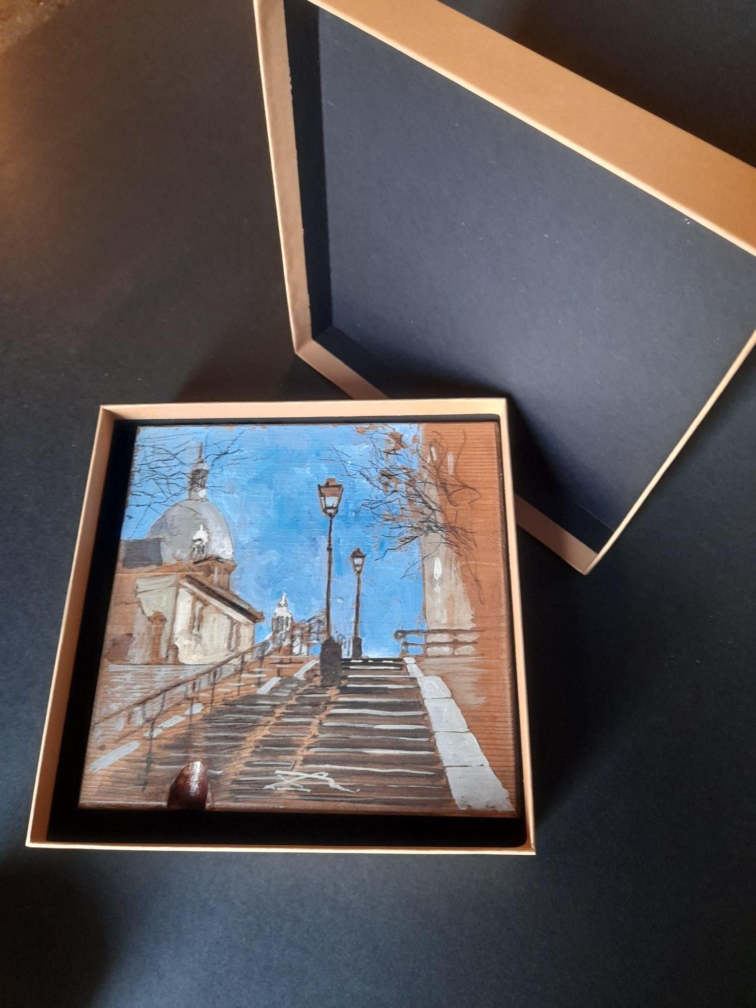 """MASSIMO LOMI """" SCALE DI MONTMATRE """"  dimensioni L 17 x H 17 cm."""