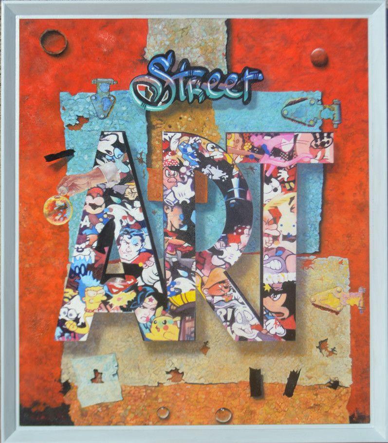 "MIXED MEDIA MARCELLO REMIGI "" STREET ART ""  dimensioni L 78 x H 90 cm."