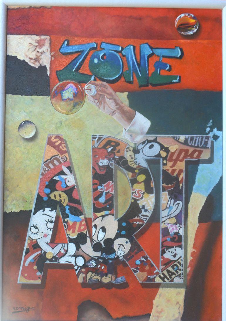 """MIXED MEDIA MARCELLO REMIGI """" ZONE ART """"  dimensioni L 60 x H 85 cm."""