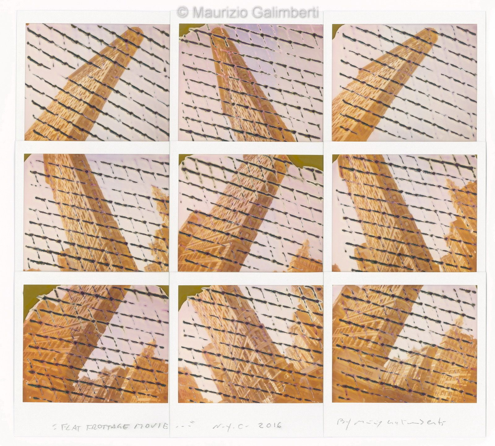 "VINTAGE POLAROD MAURIZIO GALIMBERTI ""FLAT FROTTAGE MOVIE"" dimensioni cm 53x50"