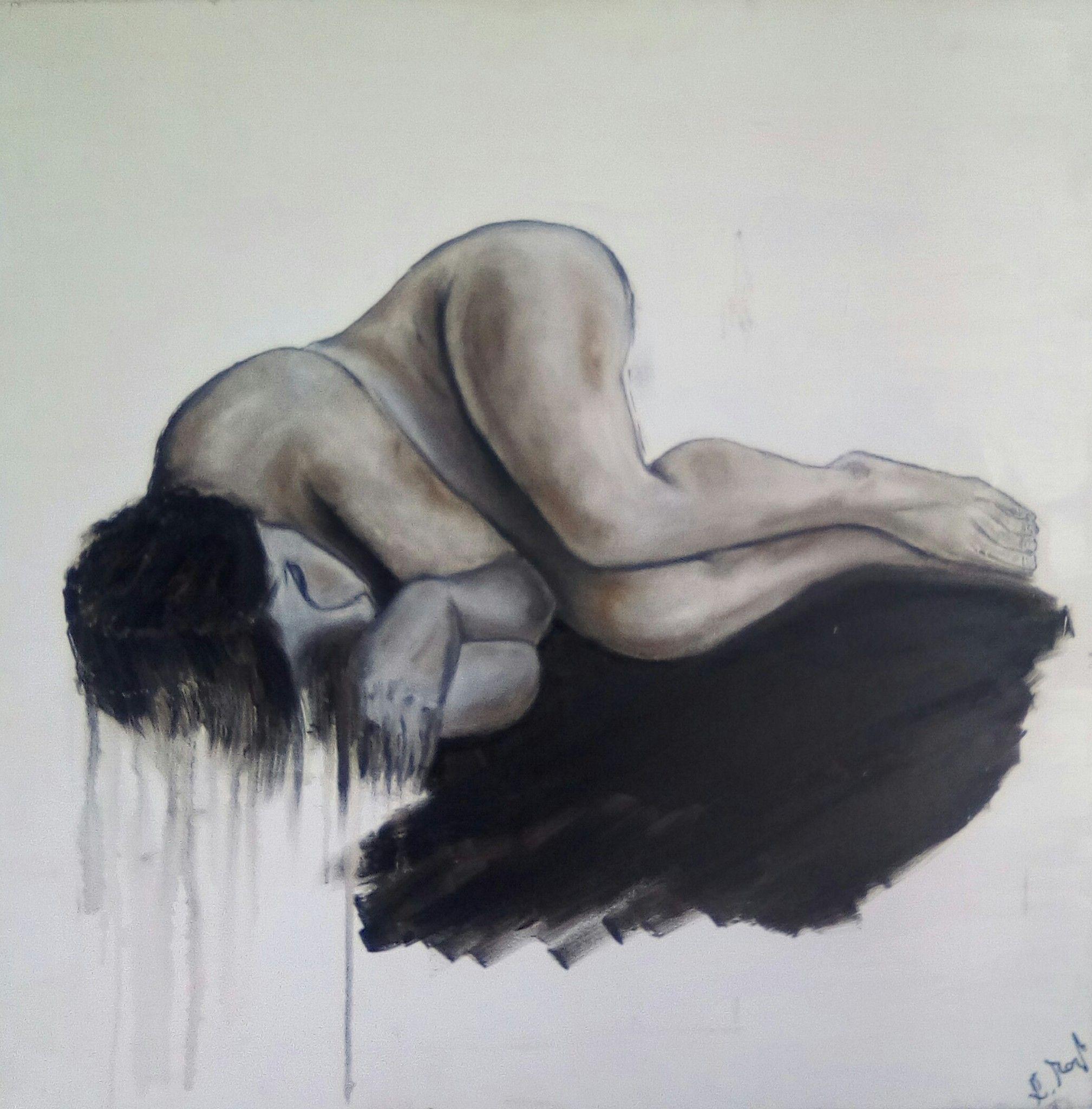 OLIO SU TELA ELISABETTA MANGHI ' L' AMORE MALATO '  dimensioni L 70 x H 70 cm.