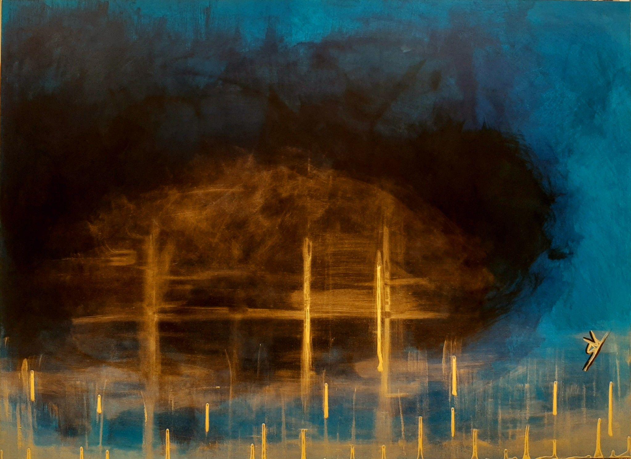 ACRILICO SU TELA SANDRA VALDEVILT ' ORO NEL BLU '  dimensioni L 130 x H 90 cm.