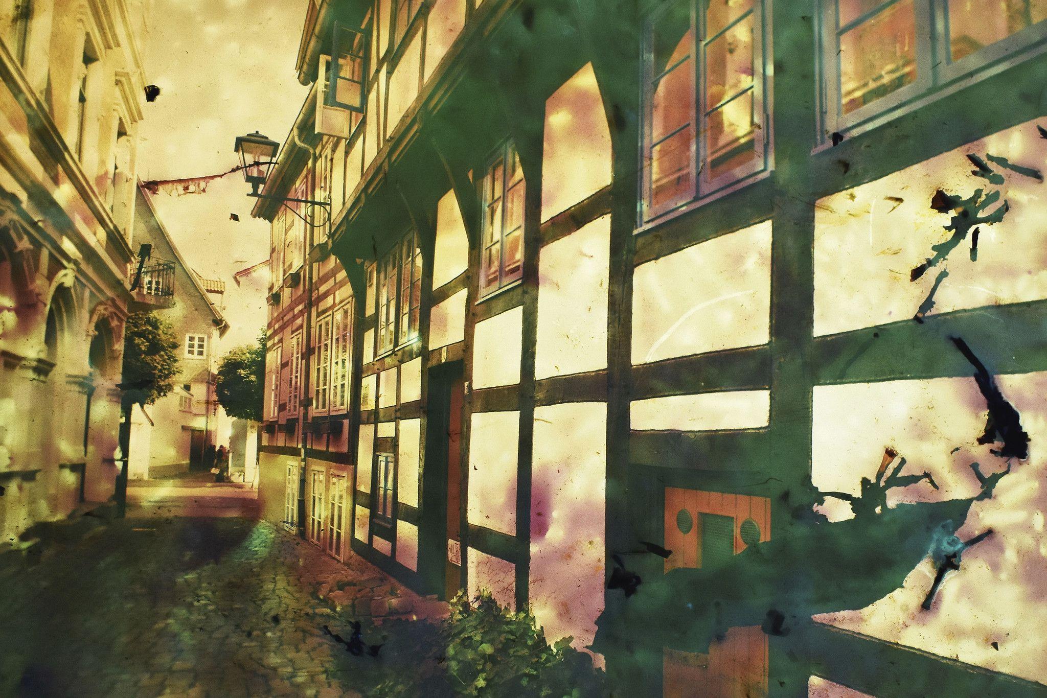 FOTOGRAFIA GUSE - BORNEMANN ' CASE A GRATICCIO '  dimensioni L 75 x H 50 cm.