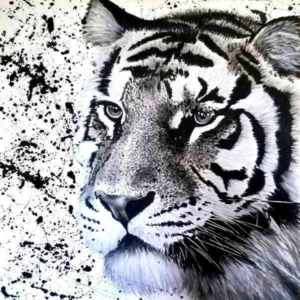 ACRILICO SU TELA  TIZIANA SANNA ' SIBERIAN TIGER '  dimensioni L 100 x H 100 cm.