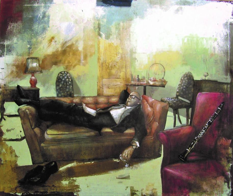 "OLIO SU TELA  WALTER MARIN "" BENNY GOODMAN ""  dimensioni L 120 x H 100 cm."