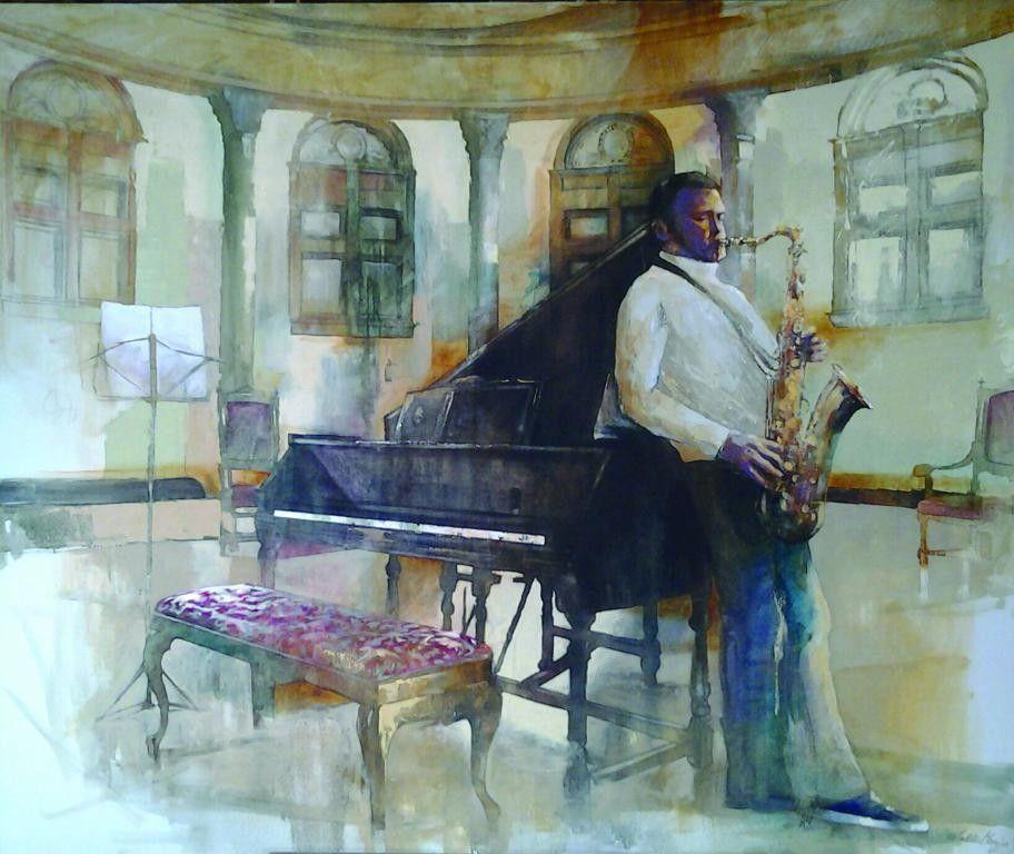 """OLIO SU TELA  WALTER MARIN """" SAX E PIANO """"  dimensioni L 120 x H 100 cm."""
