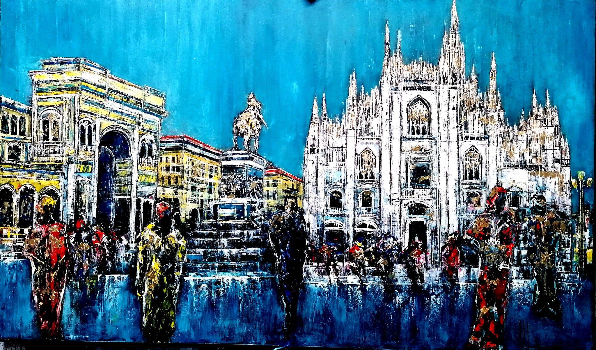 OLIO A SPATOLA  ANTONIO CAPOFERRI ' MILANO PIAZZA DUOMO '  dimensioni L 135 x H 80 cm.