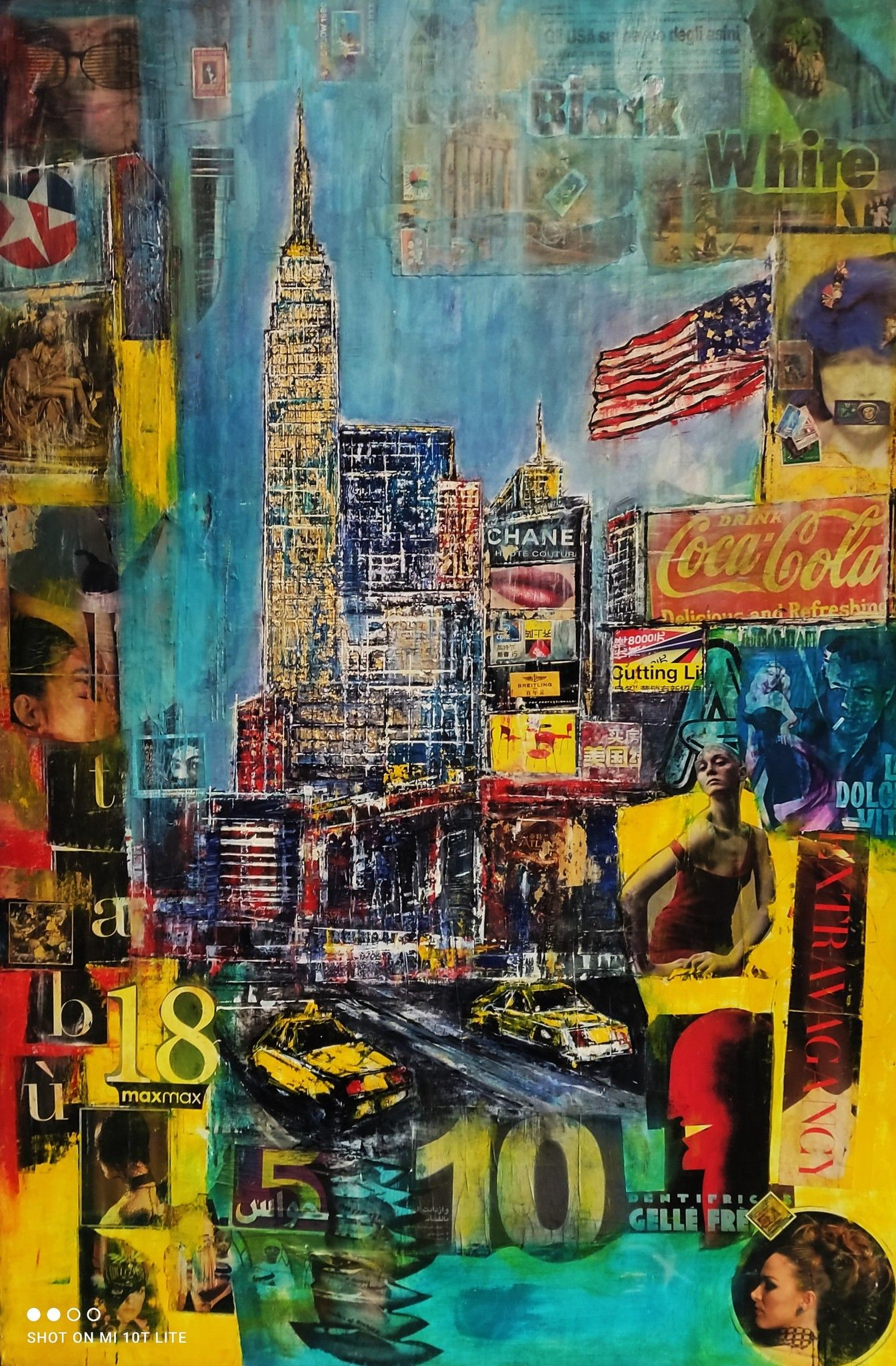 MIXED MEDIA  ANTONIO  CAPOFERRI ' NEW YORK 3 '  dimensioni L 100 x H 150 cm.