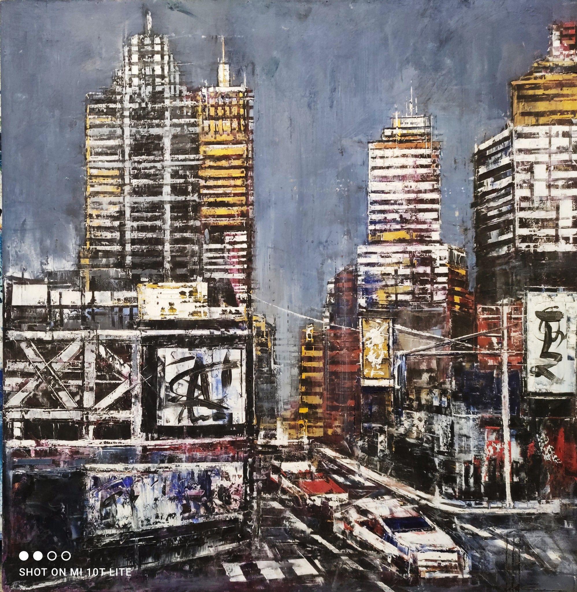OLIO A SPATOLA  ANTONIO CAPOFERRI ' NEW YORK 5 ' dimensioni L 60 x H 60 cm.