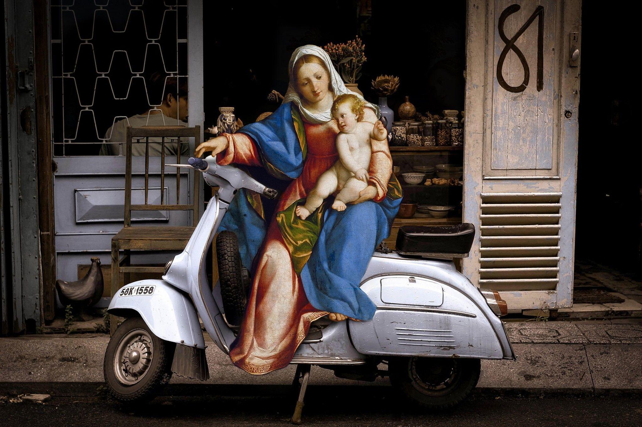 """FOTOGRAFIA DIGITALE SU TELA  -  ARTISTA SLASKY  - TITOLO  """"MADONNA CON BAMBINO"""" cm. L 120 X H 80"""