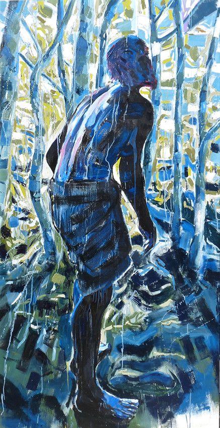 OLIO SU TELA  FRANCESCO TONIUTTI ' MONDO NUOVO '  dimensioni L 100 x H 200 cm.