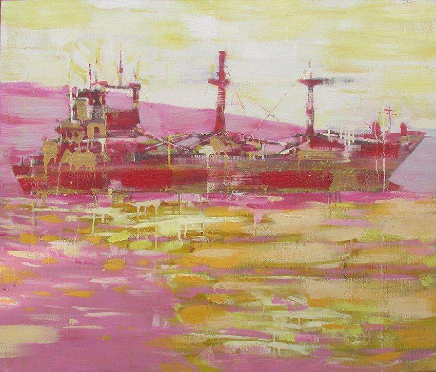 OLIO SU TELA  FRANCESCO TONIUTTI ' NAVE ROSSA SU GIALLO-ROSA '  dimensioni L 120 x H 100 cm.
