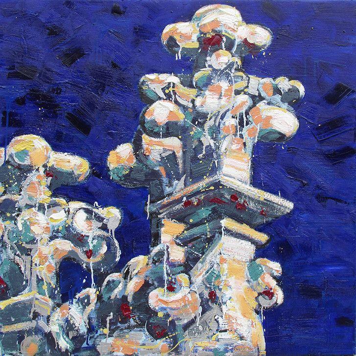 OLIO SU TELA FRANCESCO TONIUTTI ' GUGLIE SU BLU E VIOLA '  dimensioni L 100 x H 100 cm.