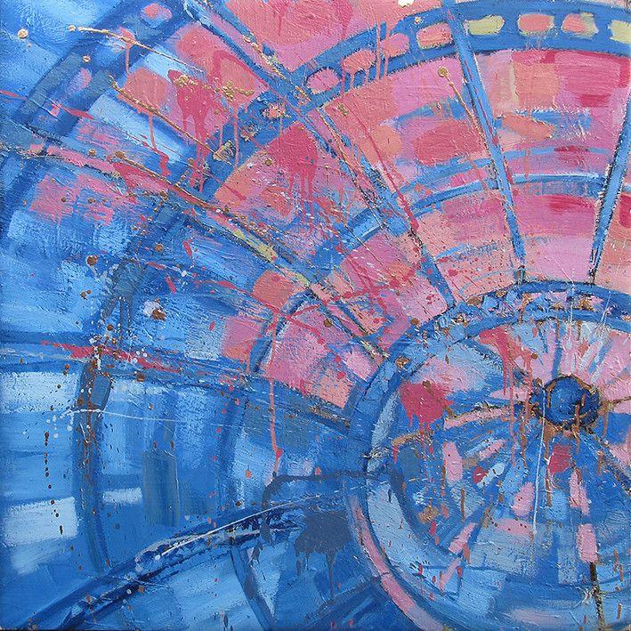 OLIO SU TELA FRANCESCO TONIUTTI ' TRIONFO ROSA E AZZURRO '  dimensioni L 100 x H 100 cm.
