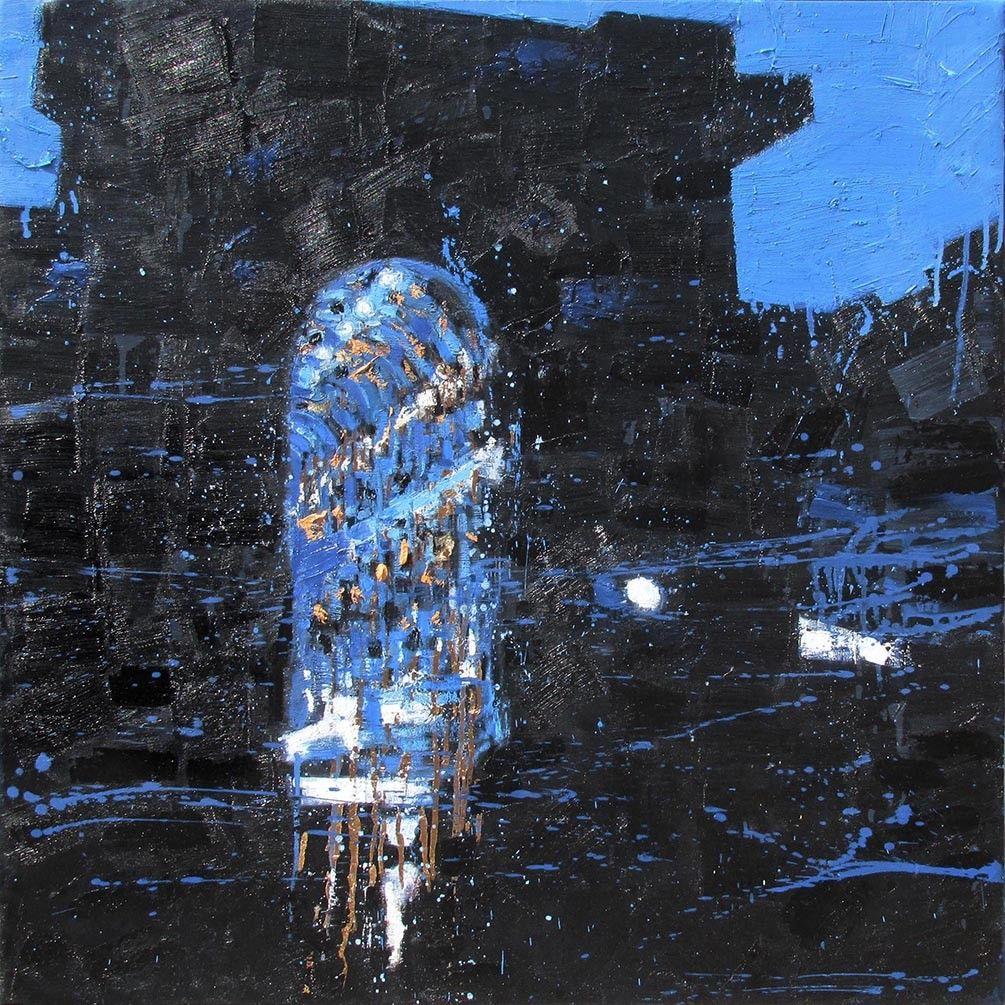 OLIO SU TELA  FRANCESCO TONIUTTI ' TRIONFO IN NERO '  dimensioni L 100 x H 100 cm.