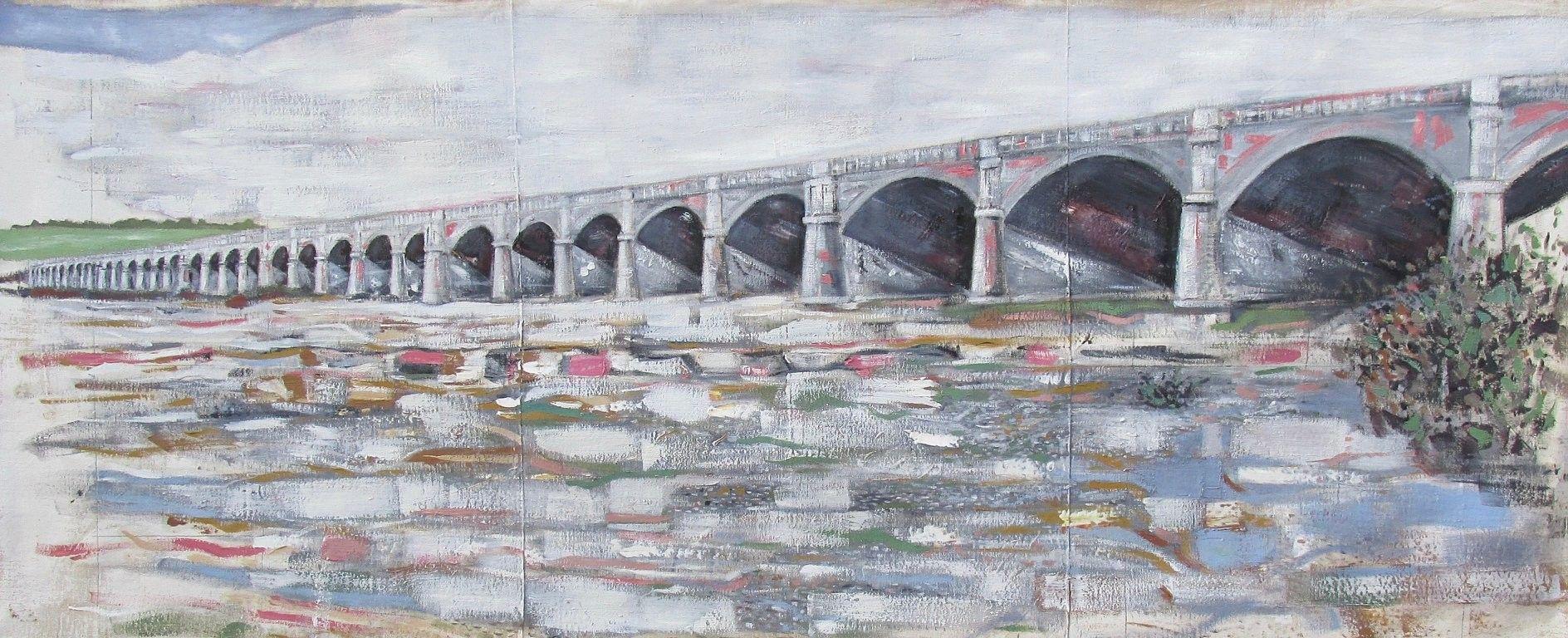 OLIO SU TELA FRANCESCO TONIUTTI ' MEMORIE DEL FIUME - PONTE - '  dimensioni L 220 x H 90 cm.