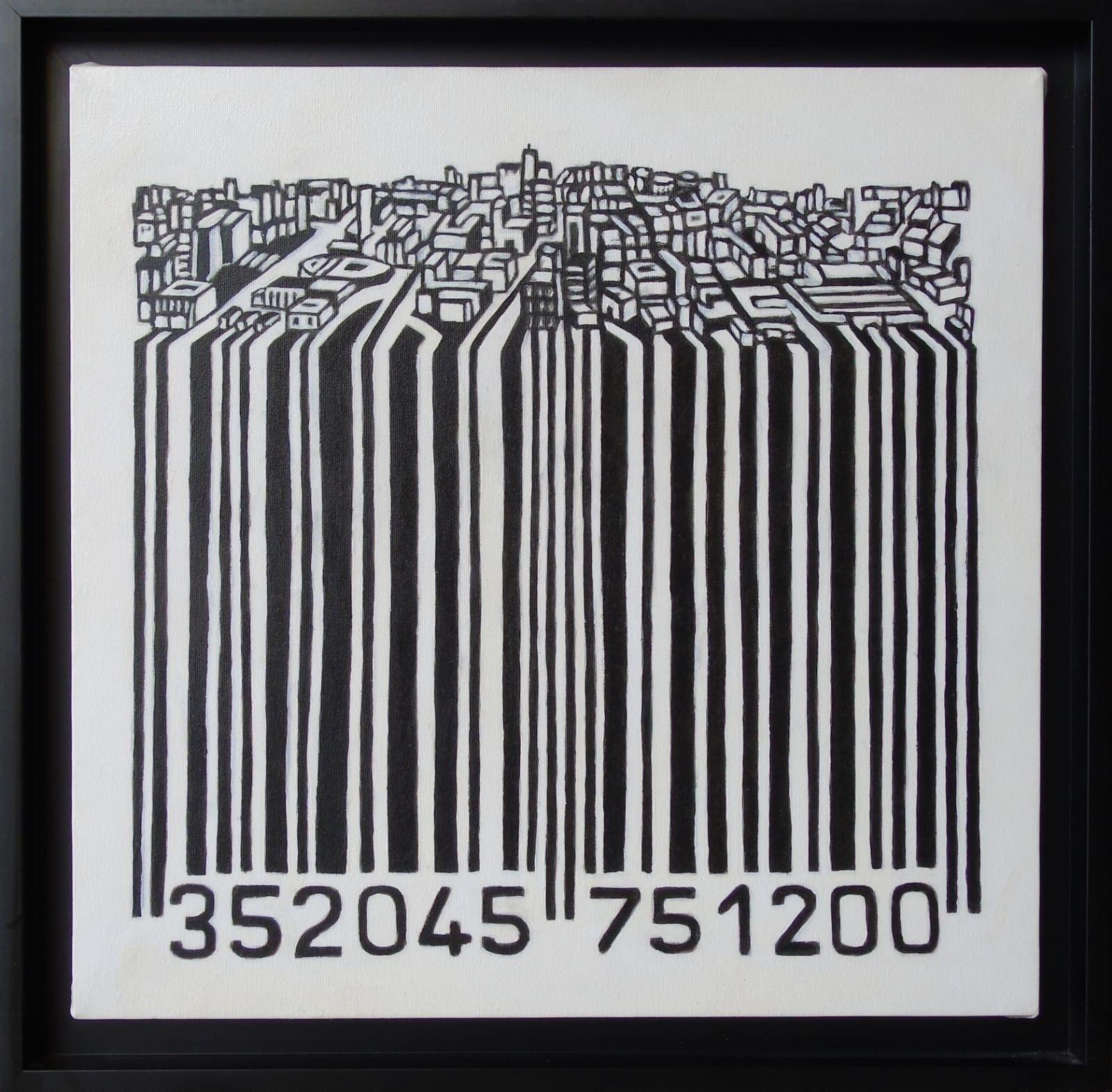 OLIO SU TELA  SEBASTIAN DE GOBBIS ' CODECITY@ELEGANT '  dimensioni L 54 x H 56 cm.