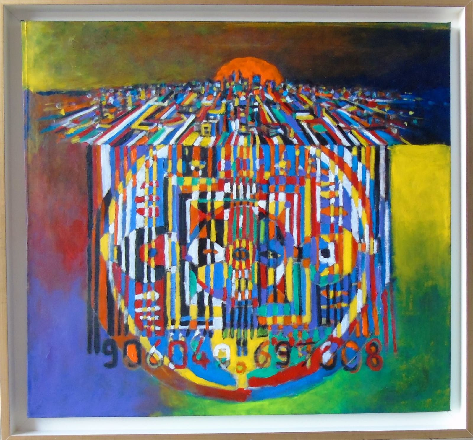 MIXED MEDIA SEBASTIAN DE GOBBIS ' CODECITY@MANDALA 2 '  dimensioni L 63 x H 68 cm.