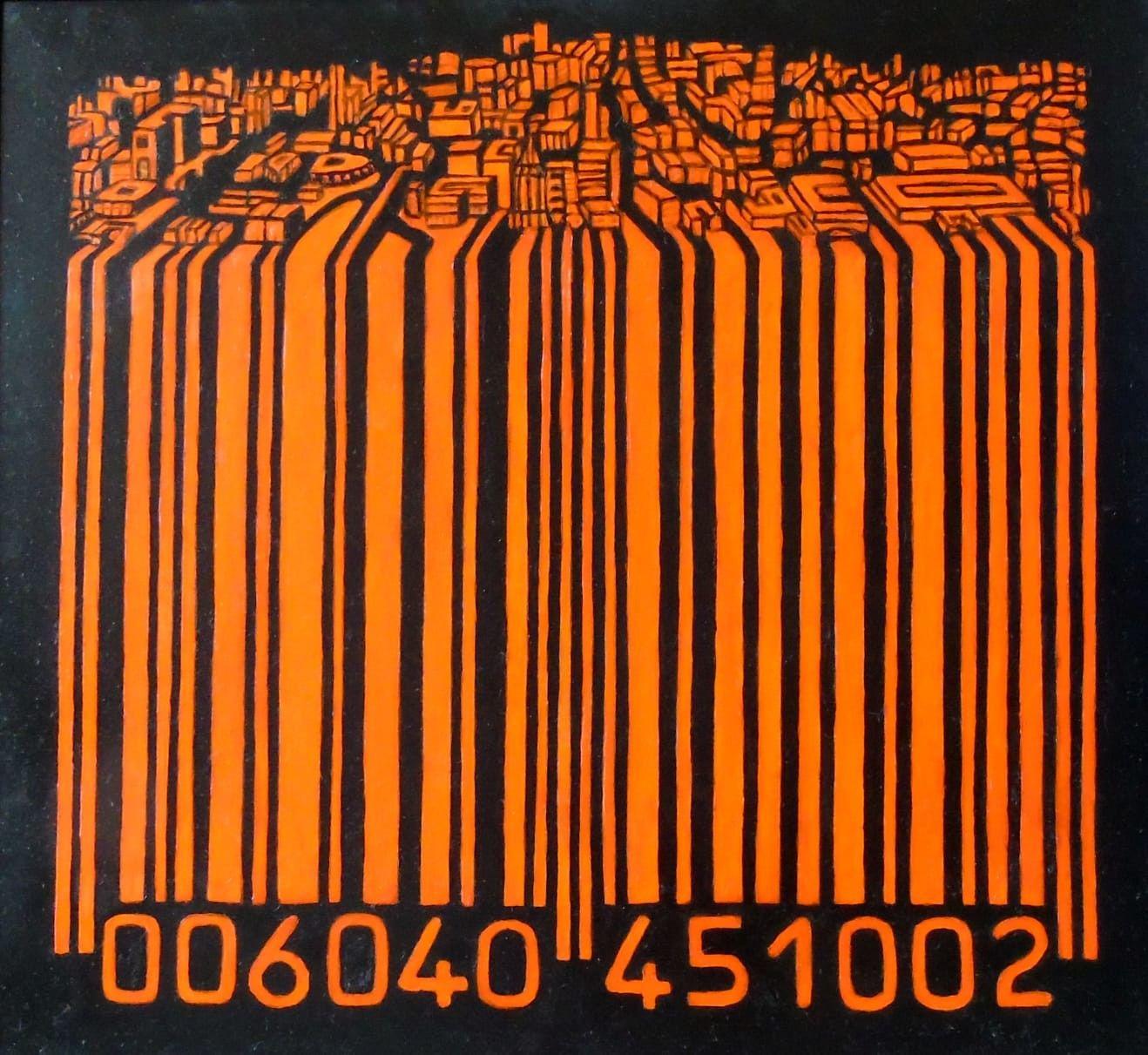 OLIO SU TELA SEBASTIAN DE GOBBIS  ' CODECITY@NIGHT-LIGHT '  diemnsioni L 75 x H 70 cm.