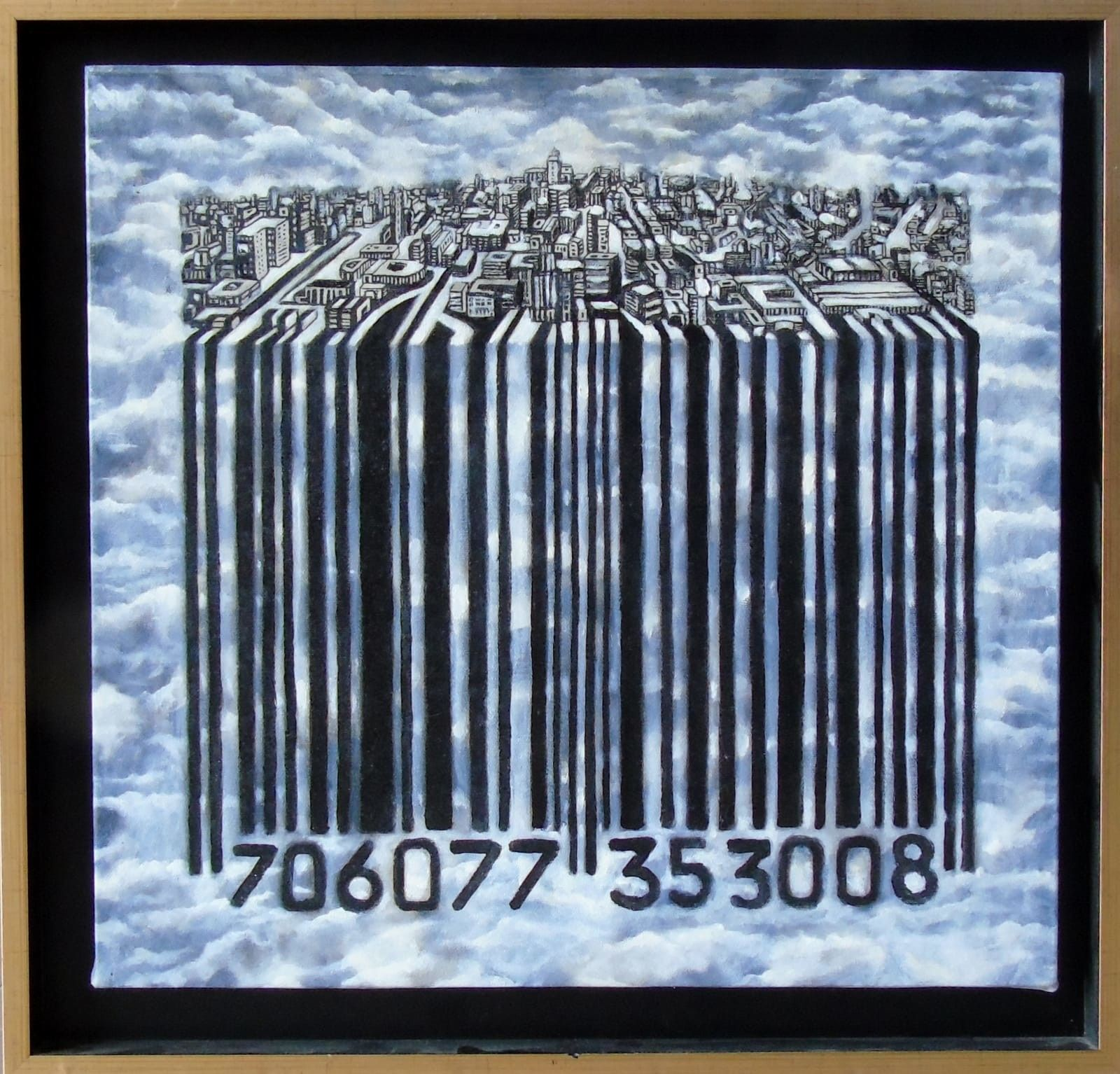 MIXED MEDIA SEBASTIAN DE GOBBIS ' CODECITY@NEBULOSA '  dimensioni L 53 x H 51 cm.