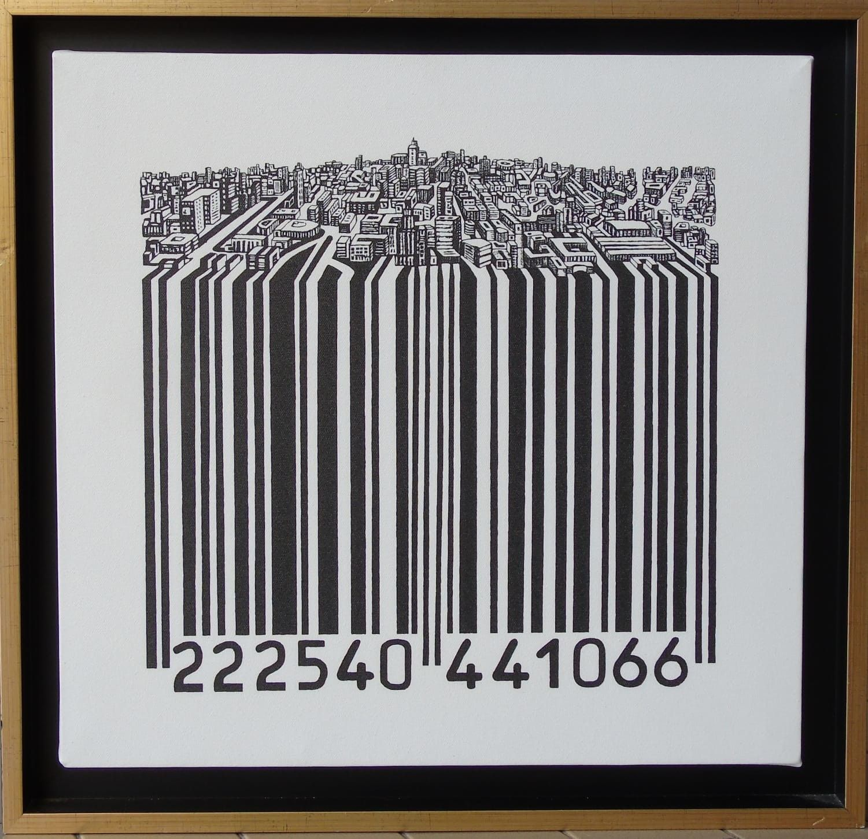 MIXED MEDIA SEBASTIAN DE GOBBIS ' CODECITY@ELEGANT 1 '  dimensioni L 51 x H 52 cm.
