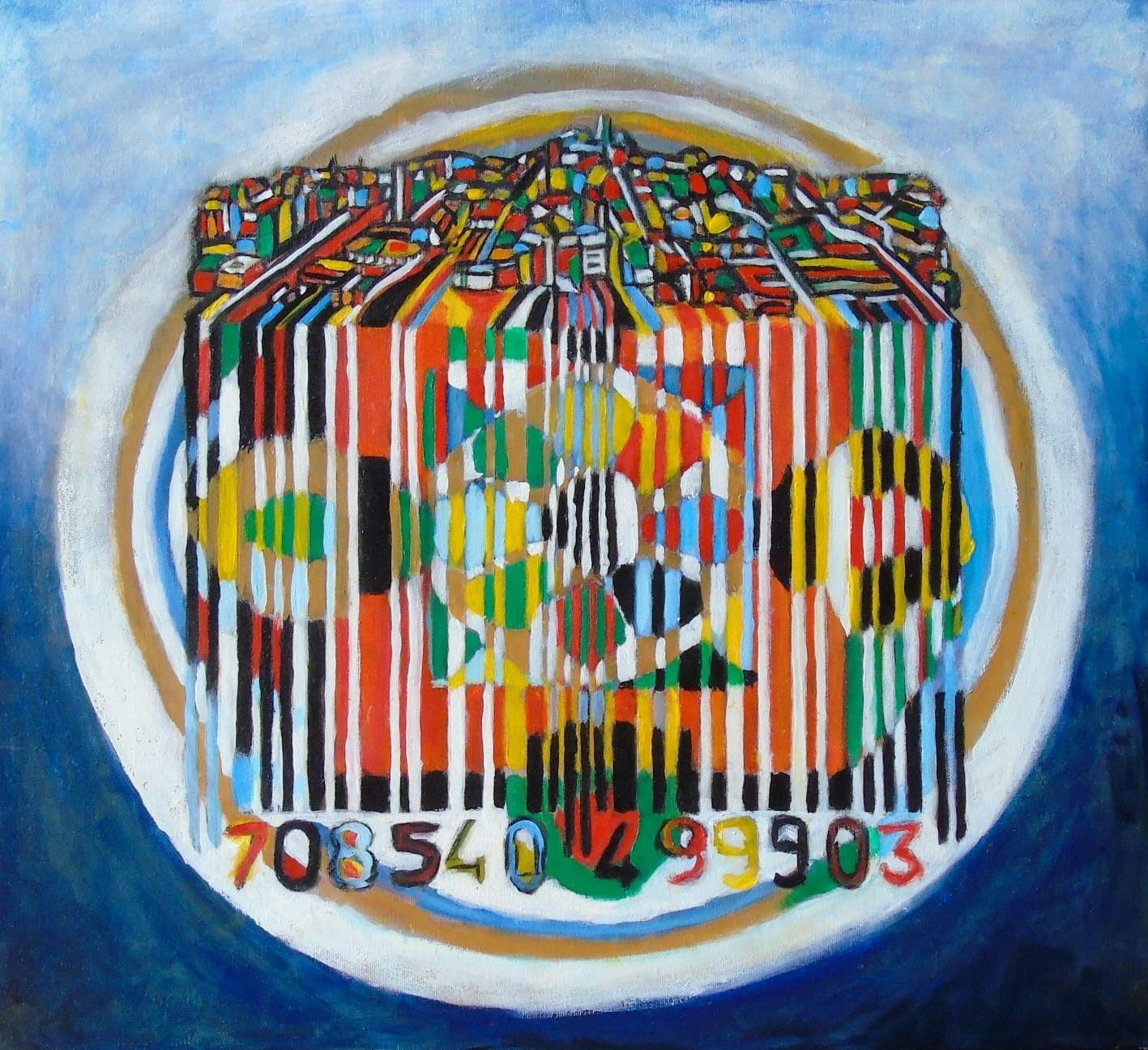 OLIO SU TELA SEBASTIAN DE GOBBIS ' CODECITY@MANDALA 3 '  dimensioni L 59 x H 54 cm.
