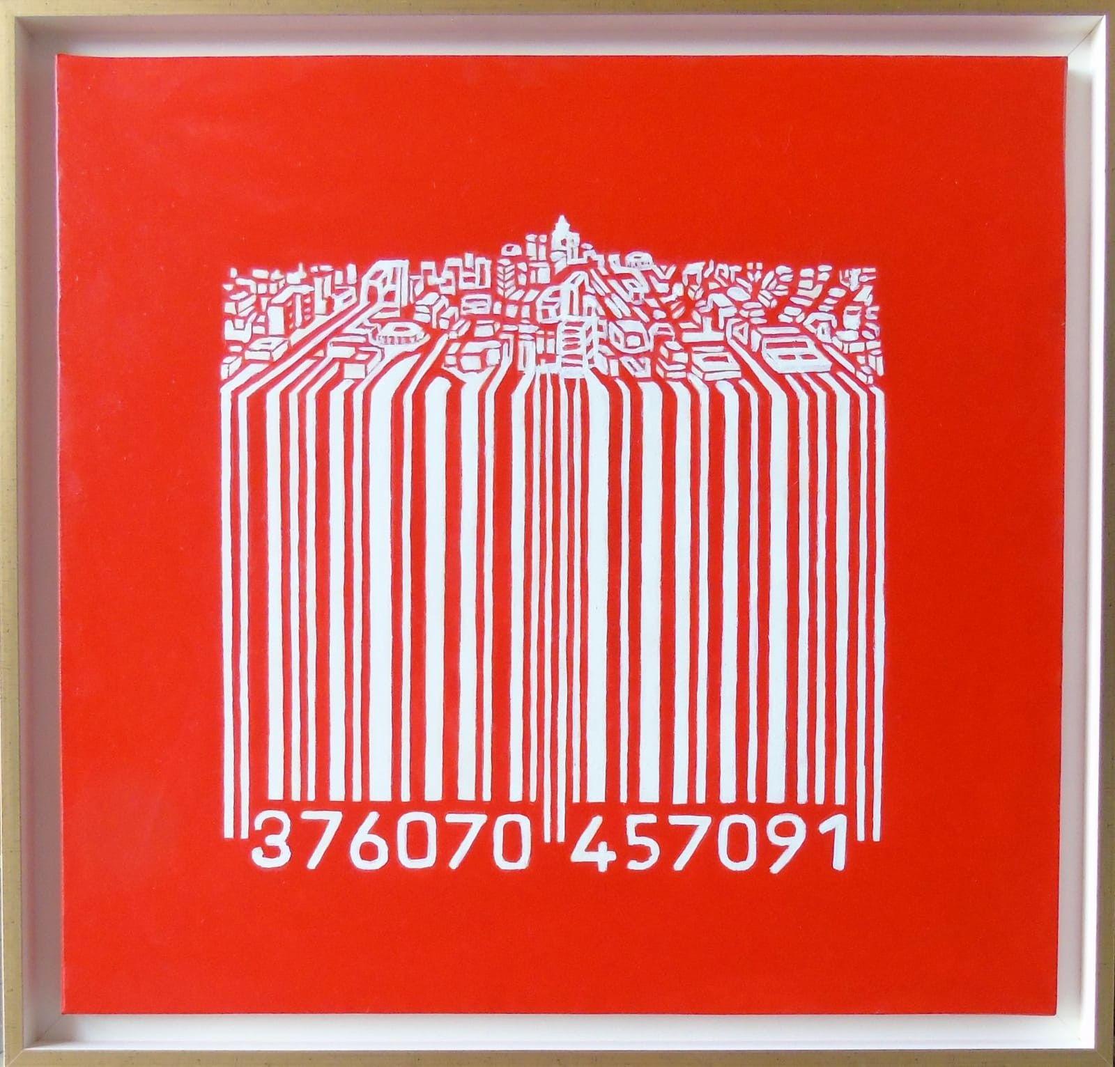 OLIO SU TELA SEBASTIAN DE GOBBIS ' CODECITY@INRED '  dimensioni L 73 x H 70 cm.