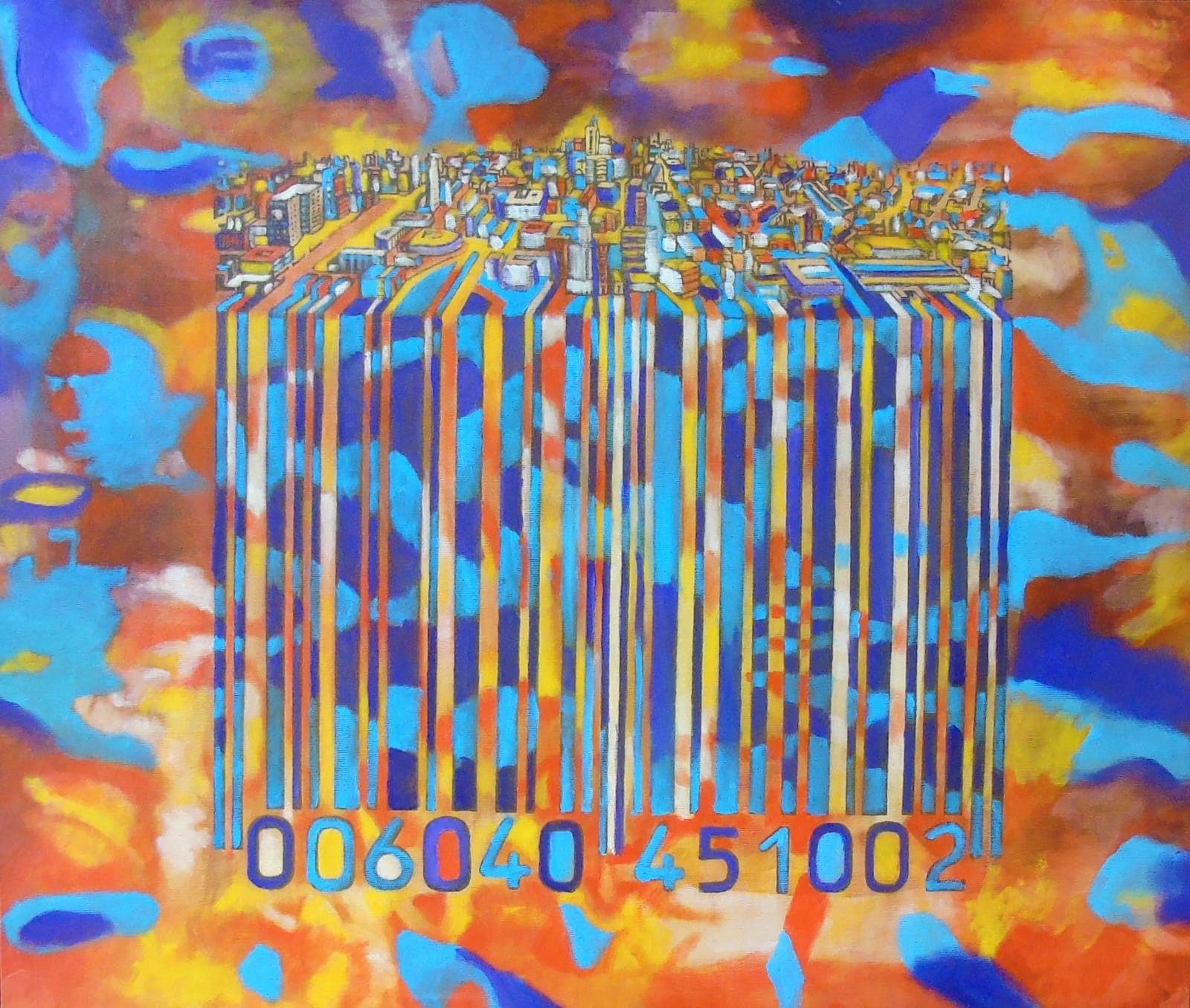 OLIO SU TELA SEBASTIAN DEGOBBIS ' CODECITY@FLOW'  dimensioni L 75 x H 63 cm.