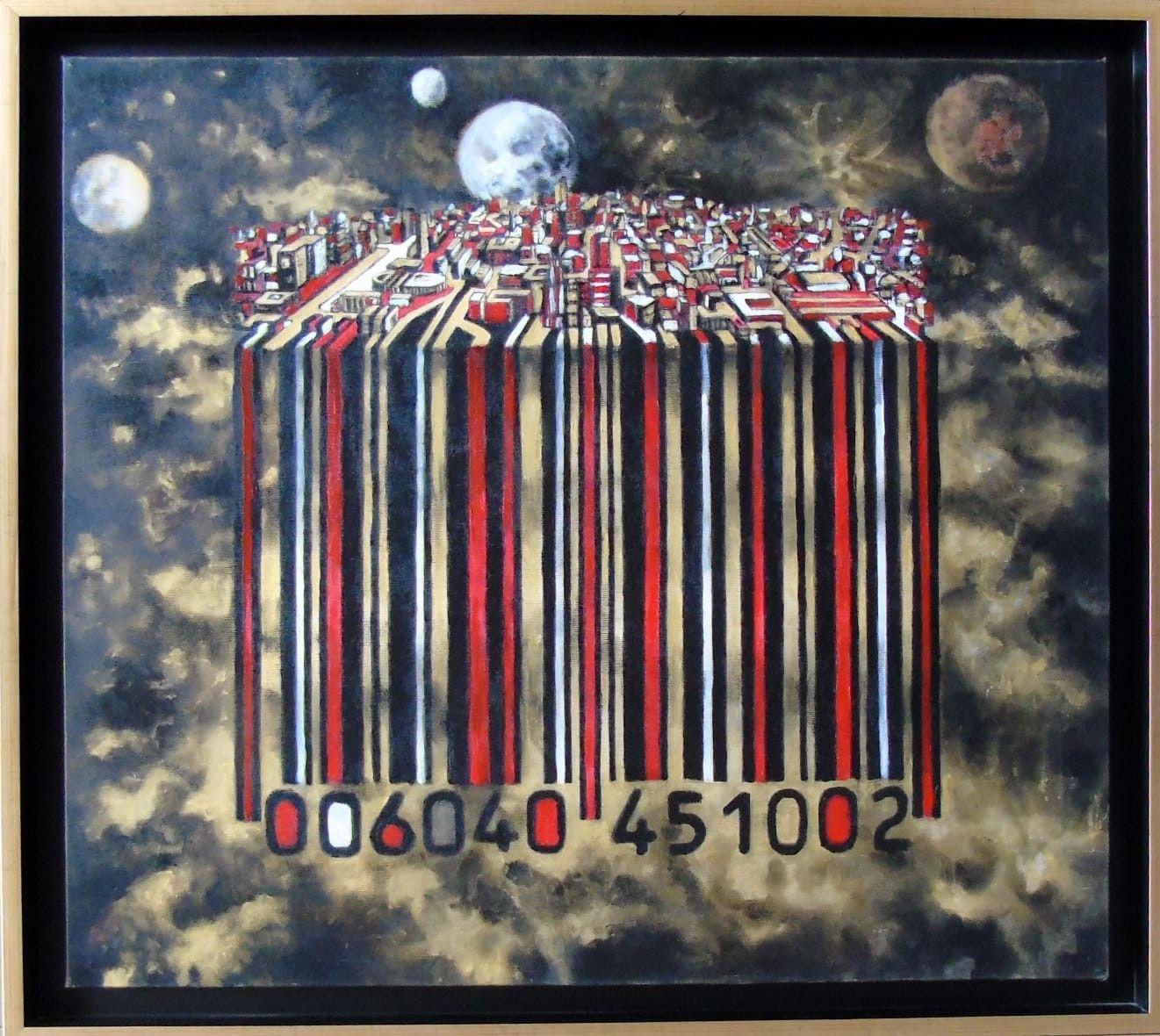OLIO SU TELA  SEBASTIAN DE GOBBIS ' CODECITY@GOLDWORLD '  dimensioni L 73 x H 65 cm.