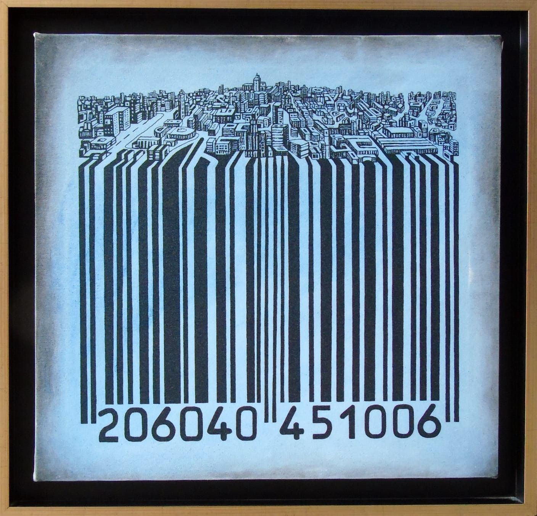 MIXED MEDIA SEBASTIAN DE GOBBIS ' CODECITY@JEANS '  dimensioni L 51 x H 52 cm.