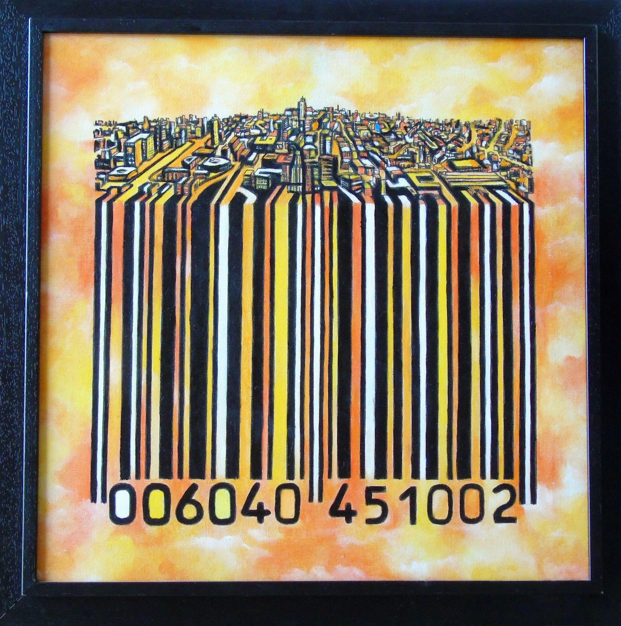 OLIO SU TELA SEBASTIAN DE GOBBIS ' CODECITY@COLDINJULY '  dimensioni L 49 x H 49 cm.