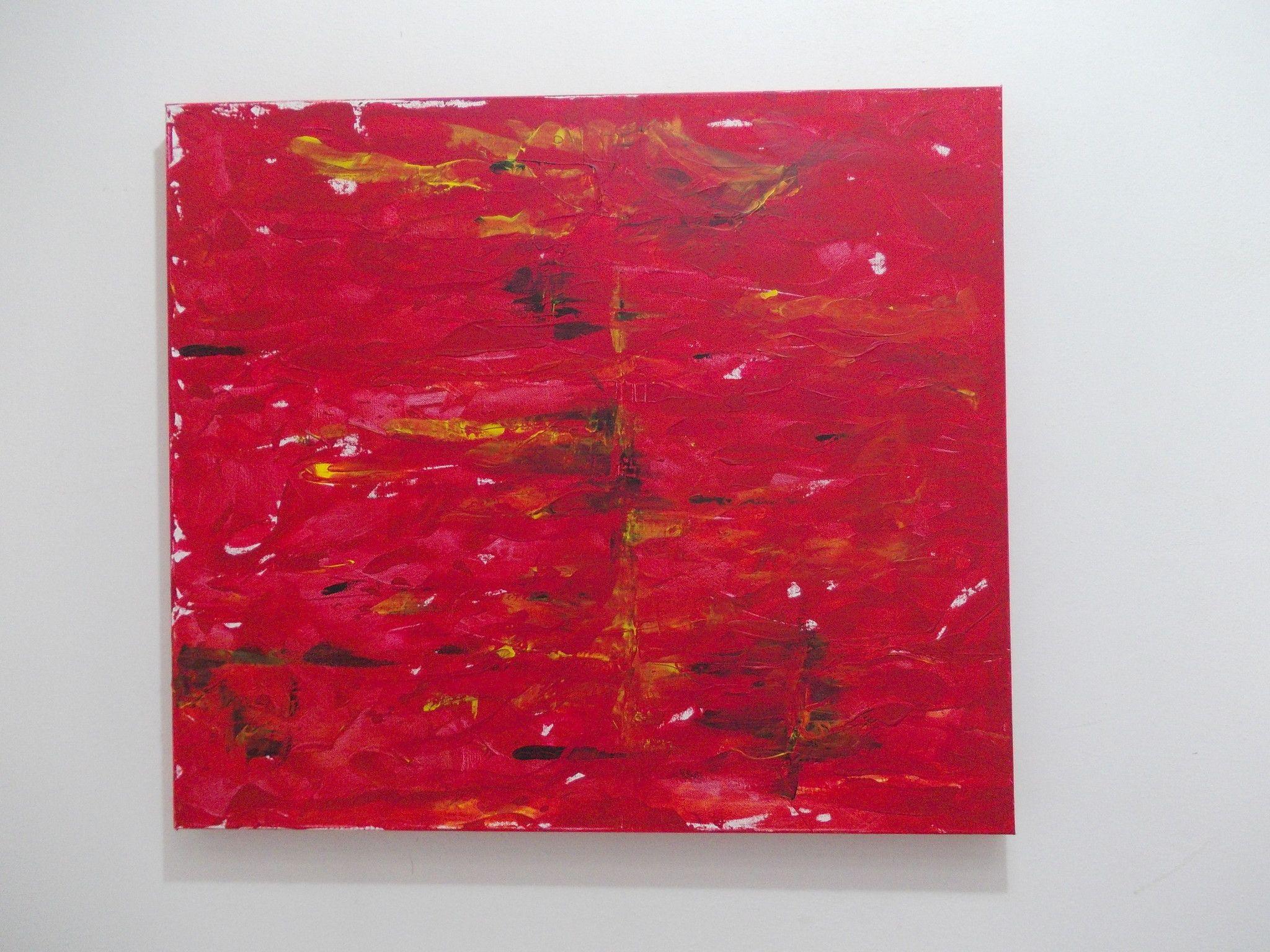 ACRILICO SU TELA ANNALISA COLOMBO ' SANGUE DI DRAGO '  dimensioni L 70 x H 80 cm.