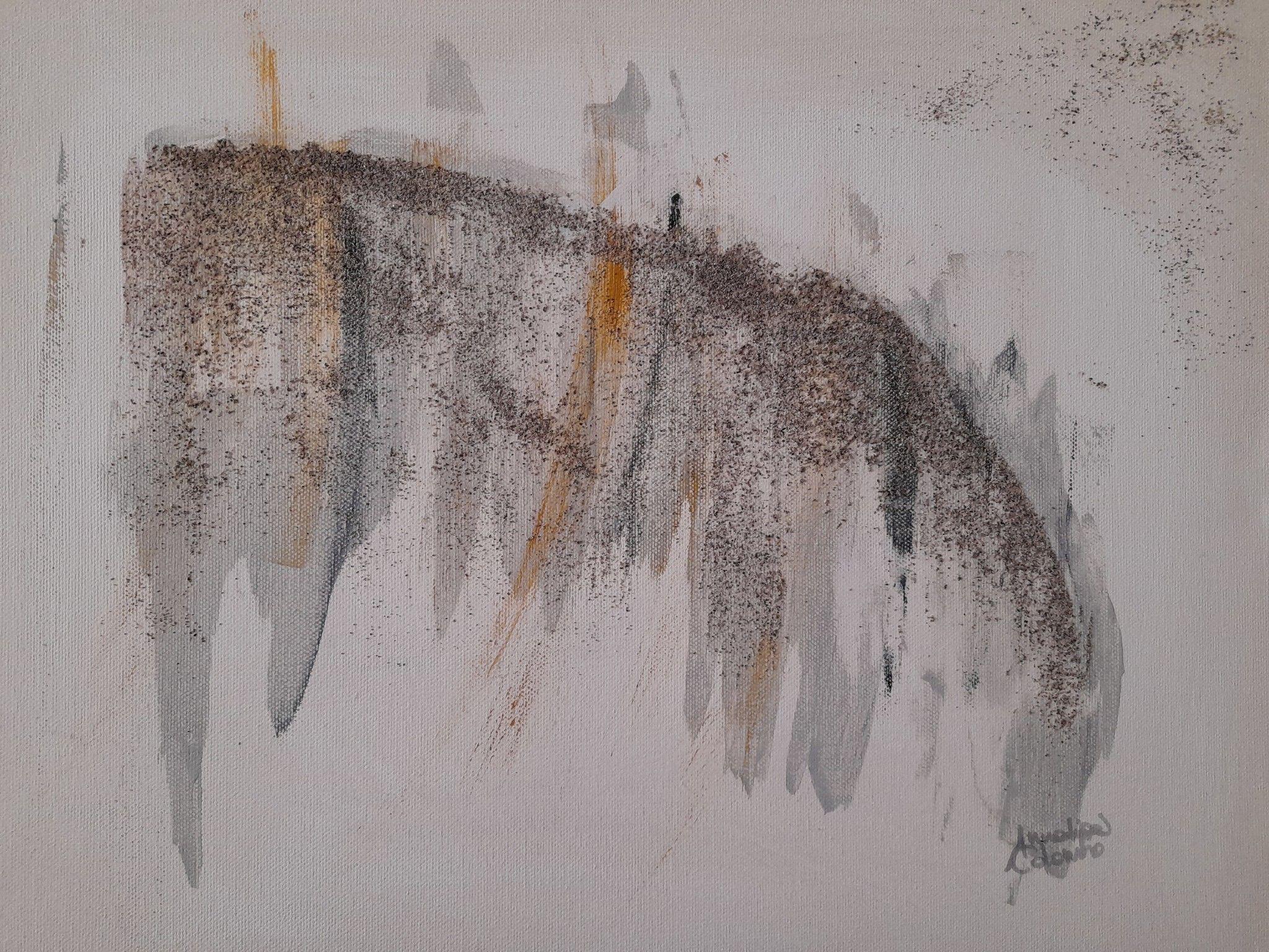 MIXED MEDIA  ANNALISA COLOMBO ' PAESAGGIO TRA LE NUVOLE 2 '  dimensioni L 50 x H 40 cm.