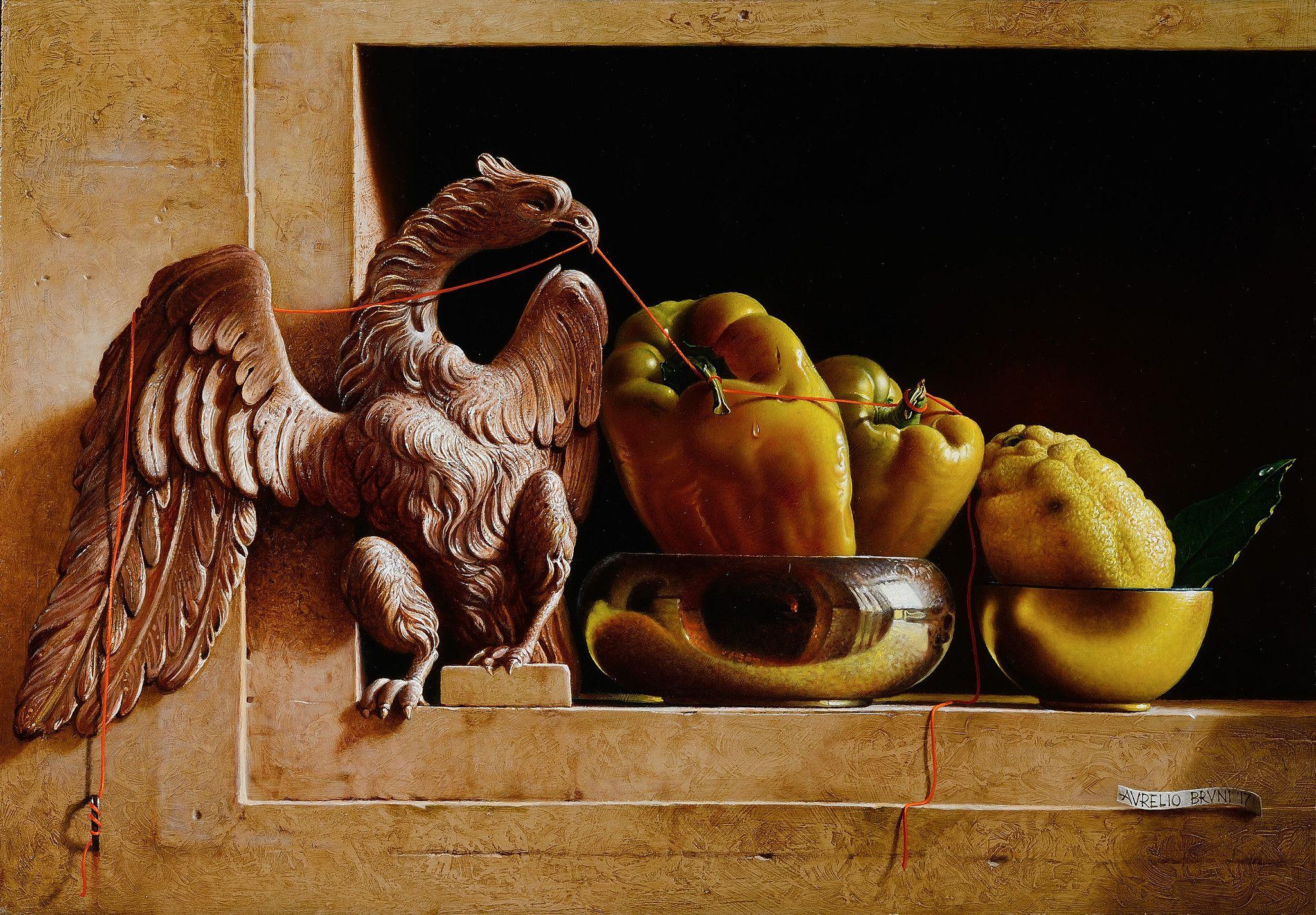 OLIO SU TAVOLA  AURELIO BRUNI ' GERARCHIA '  dimensioni L 65 x H 45 cm.