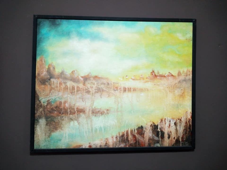 OLIO SU TELA MARCO TUZI ' ATMOSFERA N.1 '  dimensioni L 73 x H 59 cm.