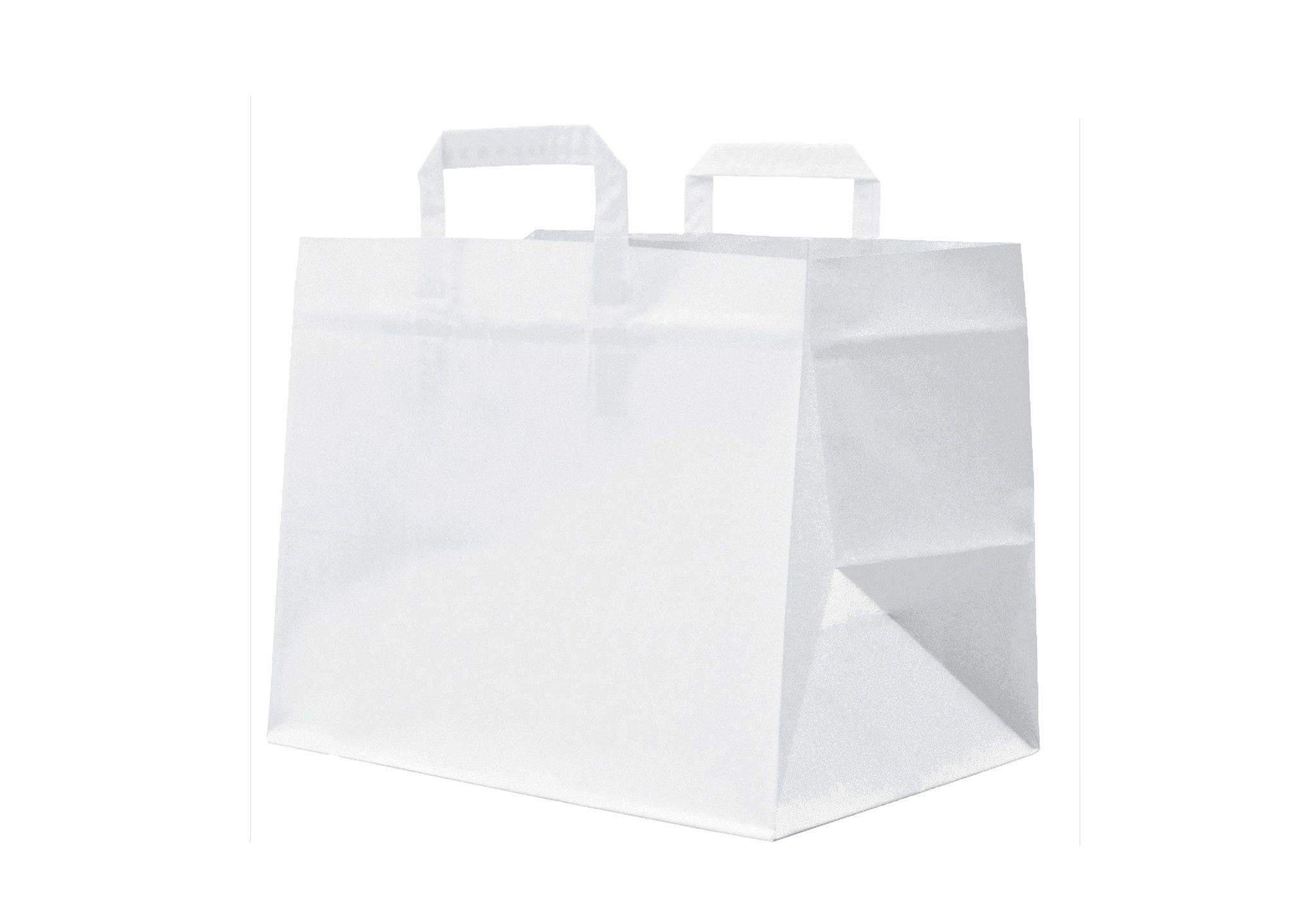 Shopper carta kraft bianco stampato manico piattina in carta 32+22X34 cm gr. 90