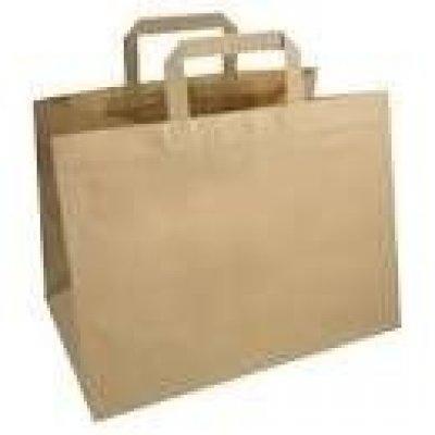 Shopper carta kraft avana riciclato neutro  take away manico piattina in carta 27+17x29 cm gr. 90
