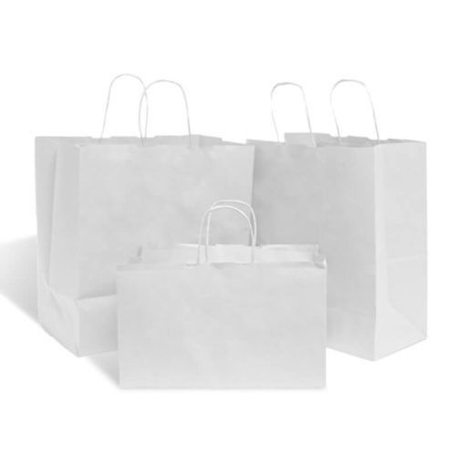 Shopper carta kraft bianco  stampato take away cordino ritorto in carta 27+17x29 cm gr. 90